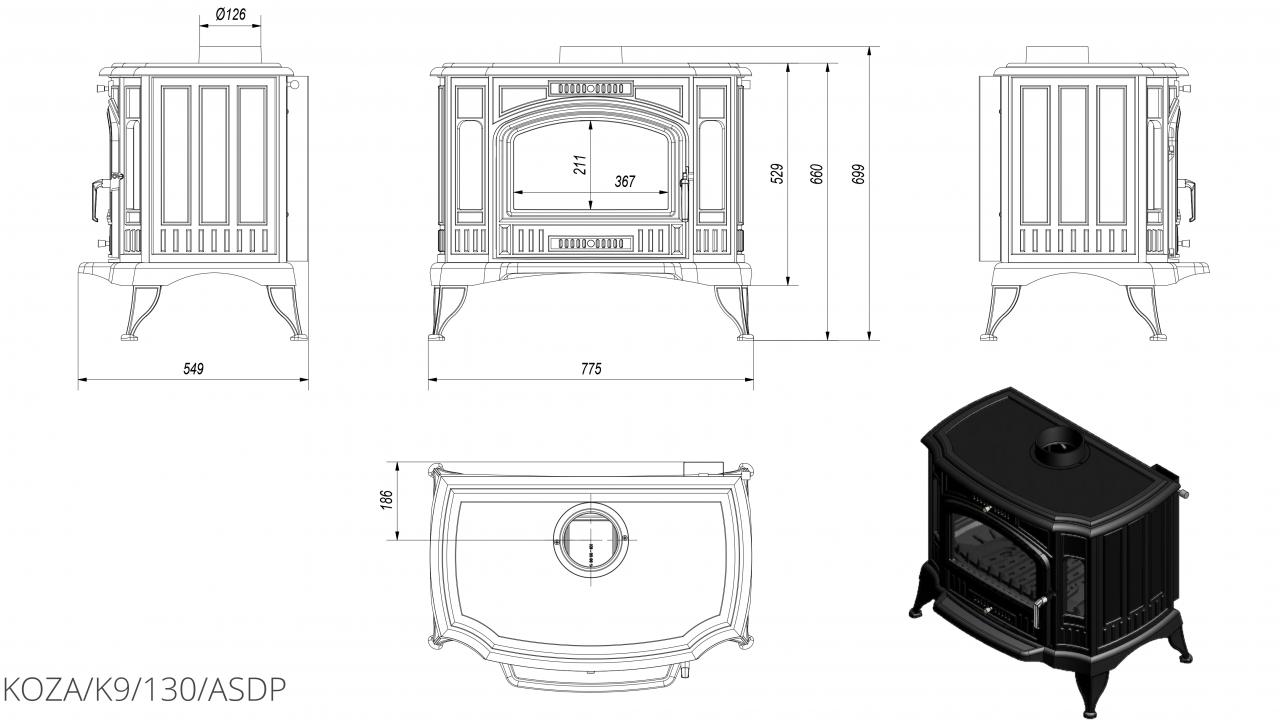 K9 Ø 130 с автоматическим управлением подачи воздуха чертеж