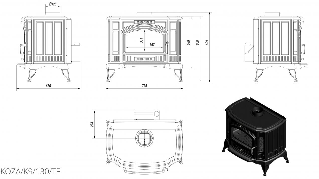 K9 Ø 130 с турбовентилятором чертеж