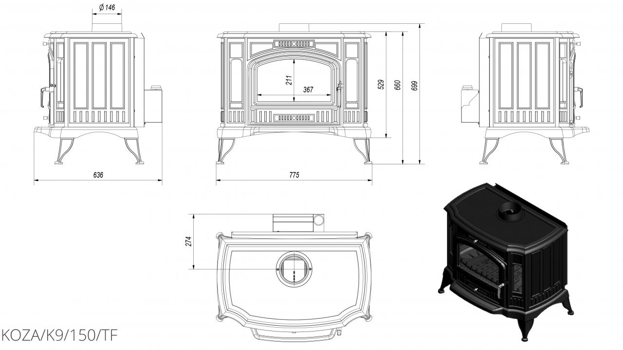 K9 Ø 150 с турбовентилятором чертеж