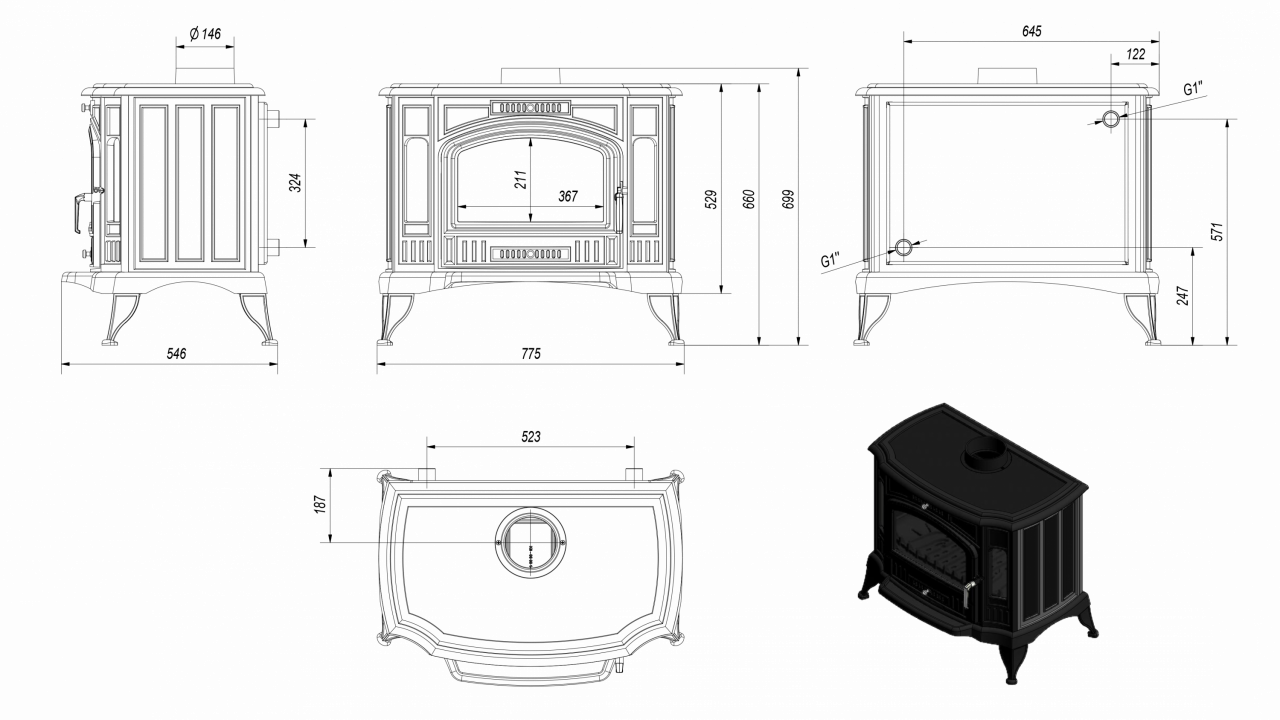 Отдельностоящая печь-камин K9 Ø 130