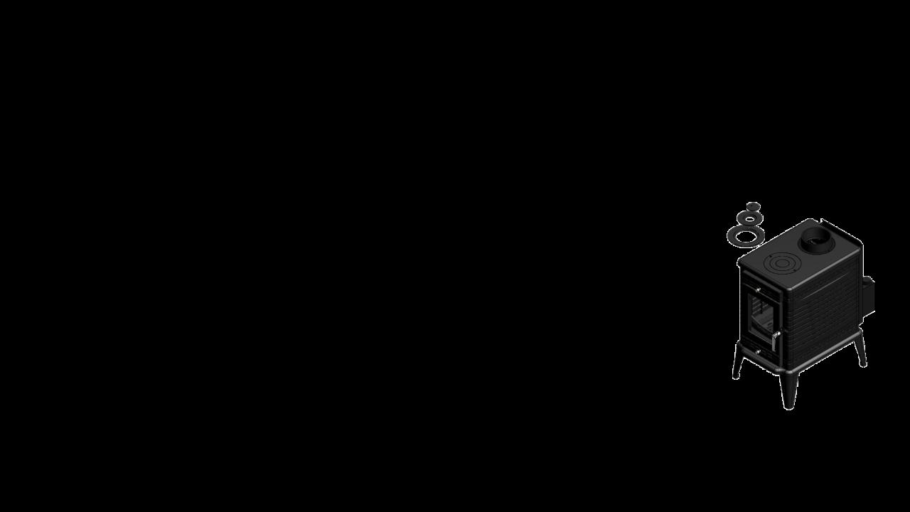 Отдельностоящая печь-камин K10 Ø 130 с турбовентилятором