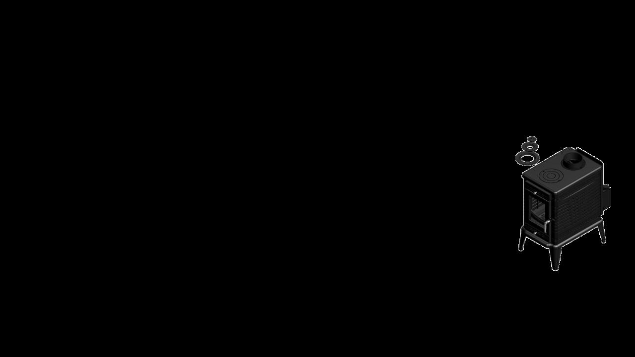 Отдельностоящая печь-камин K10 Ø 150 с автоматической регулировкой подачи воздуха