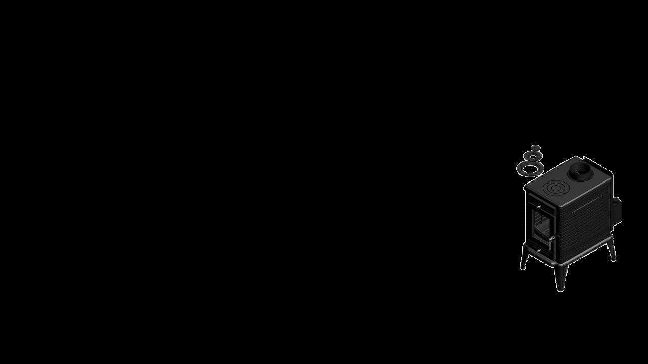 Отдельностоящая печь-камин K10 Ø 150 с турбовентилятором