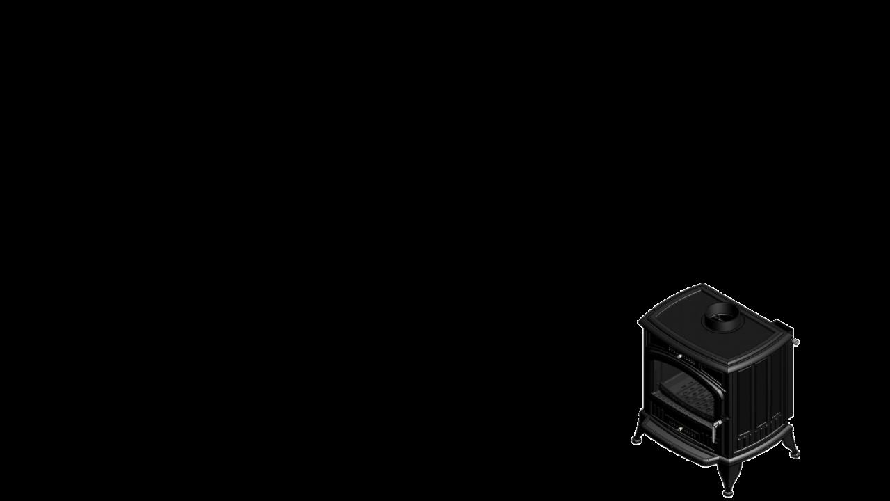 Отдельностоящая печь-камин K6 Ø 130 с автоматической регулировкой подачи воздуха