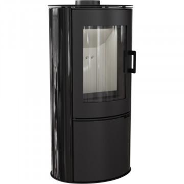 Отдельностоящая печь-камин Kratki Koza AB/S, чёрный кафель выпуклое стекло