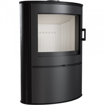Отдельностоящая печь-камин Kratki Koza AB/S/2, сталь, чёрный кафель выпуклое стекло