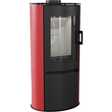 Отдельностоящая печь-камин Kratki Koza AB/S, красный кафель выпуклое стекло