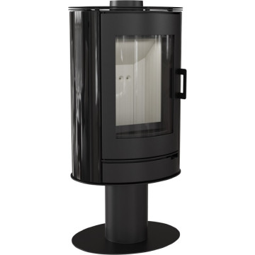 Отдельностоящая печь-камин Kratki Koza AB/S/N, чёрный кафель выпуклое стекло