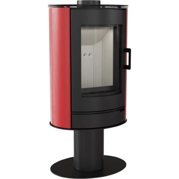 Отдельностоящая печь-камин Kratki Koza AB/S/N, сталь, красный кафель выпуклое стекло