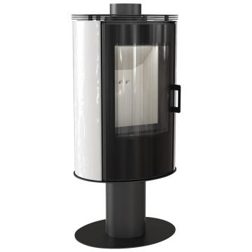 Отдельностоящая печь-камин Kratki Koza AB/S/N/O/GLASS, сталь, белый кафель выпуклое стекло, стеклянная дверка, поворотная