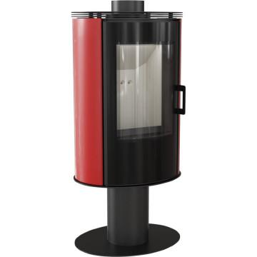 Отдельностоящая печь-камин Kratki Koza AB/S/N/O/GLASS, сталь, красный кафель выпуклое стекло, стеклянная дверка, поворотная