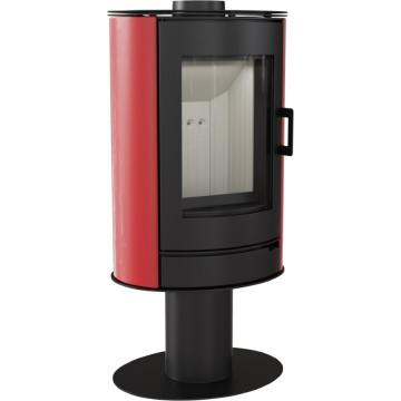 Отдельностоящая печь-камин Kratki Koza AB/S/N/O, сталь, красный кафель выпуклое стекло, поворотная