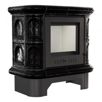 Печь-камин Kratki WK, чёрный кафель прямое стекло