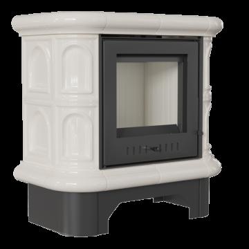 Печь-камин Kratki WK, кремовый кафель прямое стекло