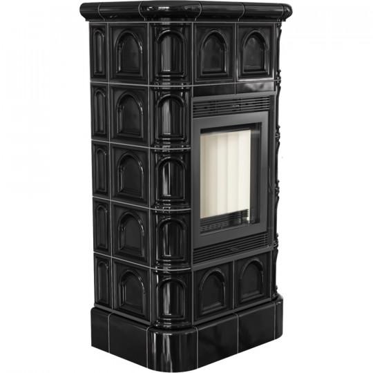 Печь-камин Kratki BLANKA, чёрный кафель прямое стекло