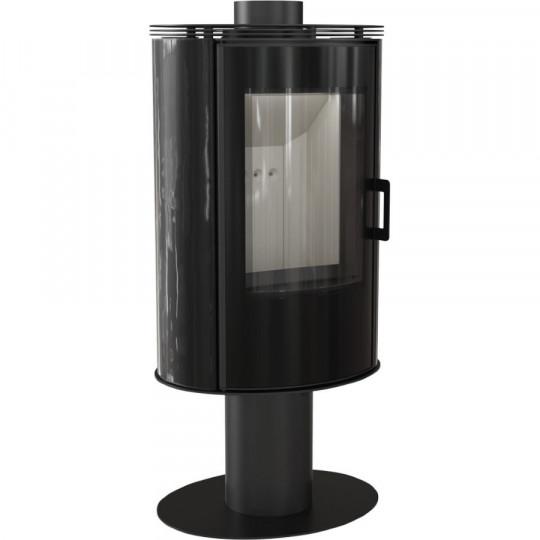 Отдельностоящая печь-камин Kratki Koza AB/S/N/O/GLASS, сталь, чёрный кафель выпуклое стекло, стеклянная дверка, поворотная
