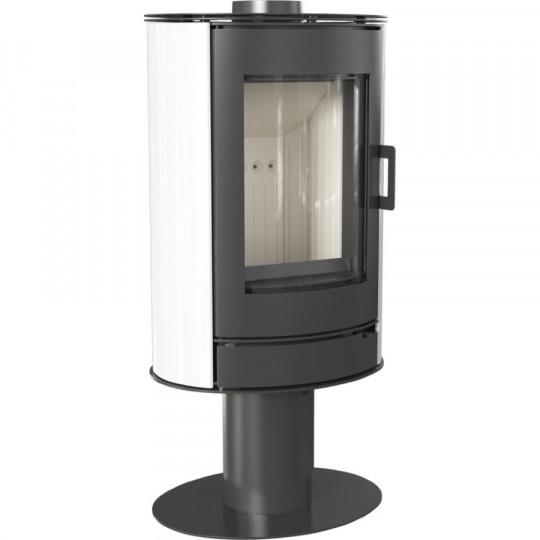 Отдельностоящая печь-камин Kratki Koza AB/S/N/O, сталь, белый кафель выпуклое стекло, поворотная